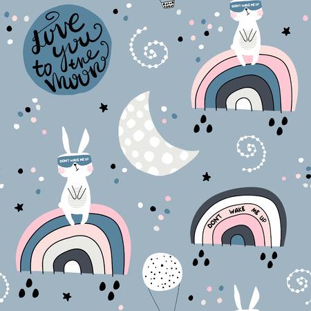 Motif enfantin sans couture avec des lapins endormis sur arc-en-ciel, lune et ciel étoilé. Texture créative d'enfants pour le tissu, l'emballage, le textile, le papier peint, l'habillement. Illustration vectorielle Vecteurs