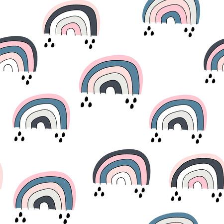 Motif enfantin sans couture avec arc-en-ciel mignon, .Texture créative pour enfants scandinaves pour tissu, emballage, textile, papier peint, vêtements. Illustration vectorielle