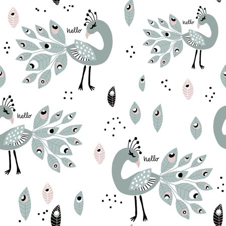 Seamless pattern with peacoks. Creative childish texture. Great for fabric, textile Vector Illustration Ilustração