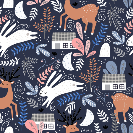 Seamless woodland pattern with deer, bunny and forest house. Creative kids for fabric, wrapping, textile, wallpaper, apparel. Vector illustration Ilustração
