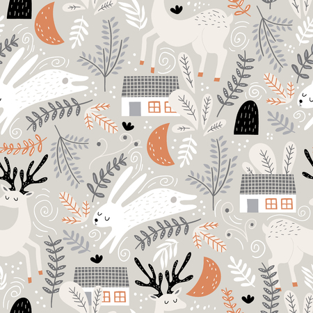 Seamless woodland pattern with deer, bunny and forest house. Creative kids for fabric, wrapping, textile, wallpaper, apparel. Vector illustration Illustration