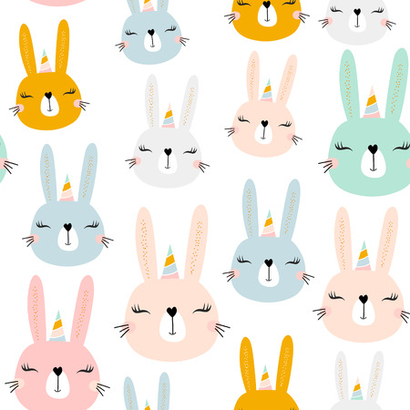 Seamless pattern with cute bunny unicorn . Creative childish background. Perfect for kids apparel,fabric, textile, nursery decoration,wrapping paper.Vector Illustration