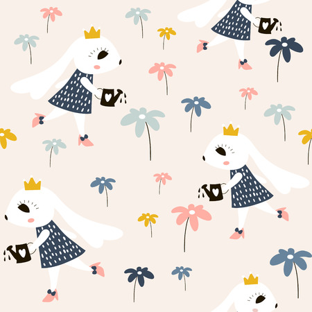 Seamless childish pattern with cute rabbits princess. Creative kids texture for fabric, wrapping, textile, wallpaper, apparel. Vector illustration