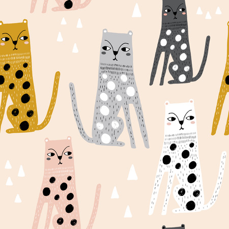 Seamless childish pattern with funny leopards. Creative scandinavian kids texture for fabric, wrapping, textile, wallpaper, apparel. Vector illustration Ilustração
