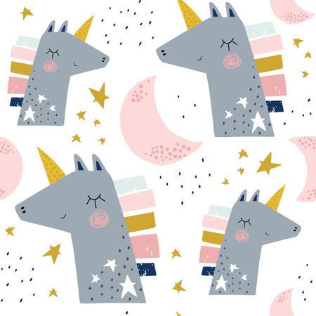 Motif enfantin sans couture avec de jolies licornes et lunes. Texture créative d'enfants scandinaves pour le tissu, l'emballage, le textile, le papier peint, l'habillement. Illustration vectorielle
