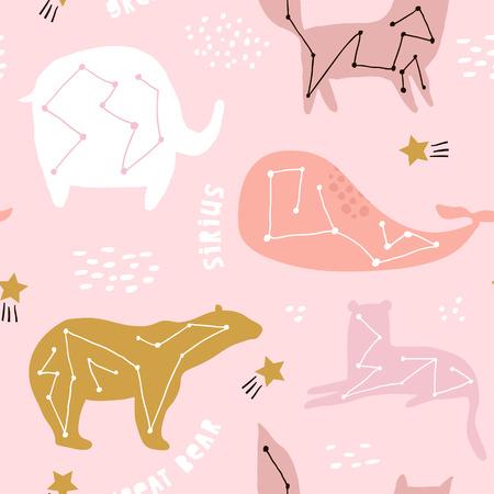 Dziecinny wzór z konstelacjami na nocne niebo gwiaździste. Kreatywne tekstury dla dzieci do tkanin, opakowań, tekstyliów, tapet, odzieży. Ilustracja wektorowa