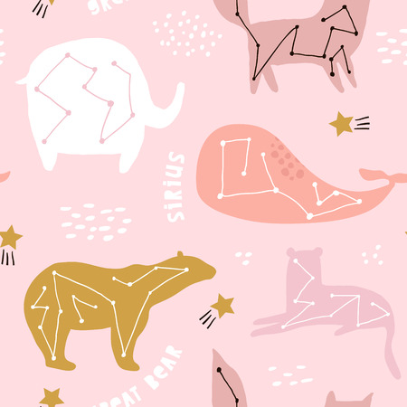 Seamless childish pattern with constallations on night starry sky. Creative kids texture for fabric, wrapping, textile, wallpaper, apparel. Vector illustration