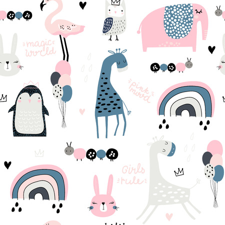 Seamless childish pattern with cute giragge, penguin, rainbow, elephant, bunny, flamingo, owl and textures. Creative kids texture for fabric, wrapping, textile, wallpaper, apparel. Vector illustration Ilustração