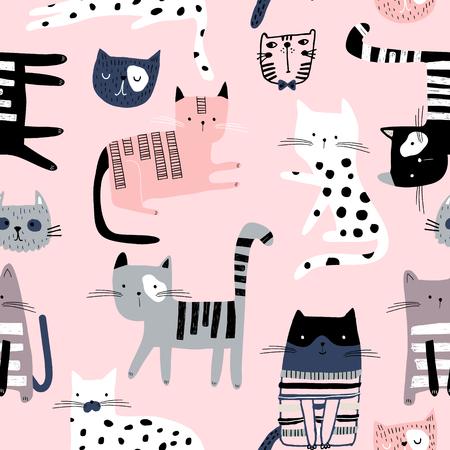 Modello senza cuciture con simpatici gattini colorati. Texture rosa infantile creativa. Ottimo per tessuto, illustrazione vettoriale tessile