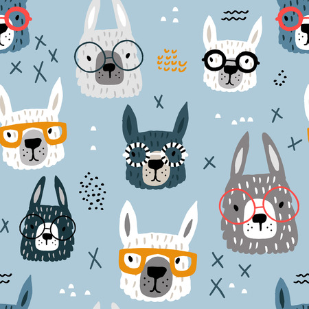 Seamless pattern with funny alpaka in glasses. Creative hand drawn llama childish texture. Great for fabric, textile Vector Illustration Çizim