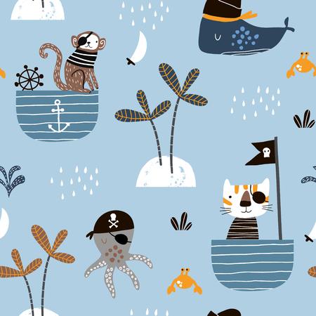 Modello infantile senza cuciture con pirati di gatto, scimmia, polpo. Texture creativa per bambini marini per tessuti, confezioni, tessuti, carta da parati, abbigliamento. Illustrazione vettoriale Vettoriali