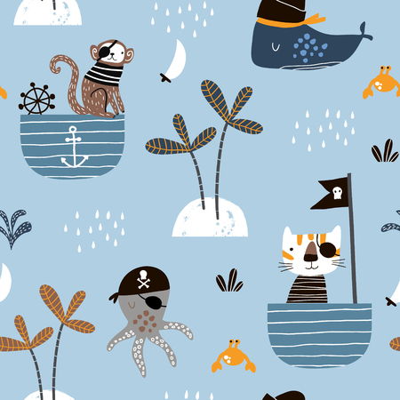 Nahtloses kindisches Muster mit Katze, Affe, Krakenpiraten. Kreative marine Kindertextur für Stoffe, Verpackungen, Textilien, Tapeten, Bekleidung. Vektor-Illustration Vektorgrafik
