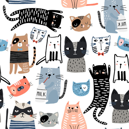 Seamless pattern with different funny cats and milk bottle. Creative childish texture. Great for fabric, textile Vector Illustration Ilustração