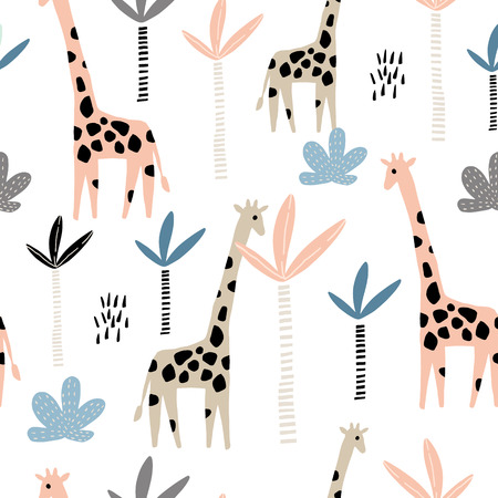 Seamless pattern with giraffe and palms tree. Creative jungle childish texture. Great for fabric, textile Vector Illustration Vettoriali