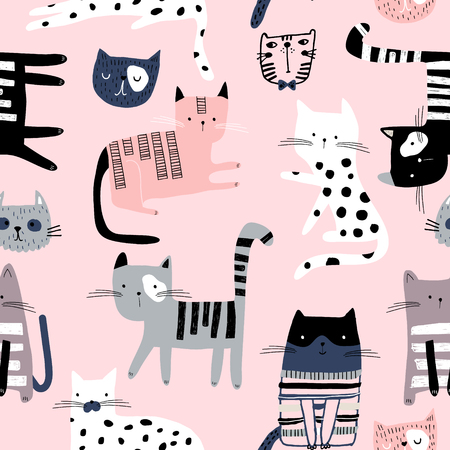 Patrón sin fisuras con lindos gatitos de colores. Textura infantil creativa. Ideal para tela, textil, ilustración vectorial Ilustración de vector