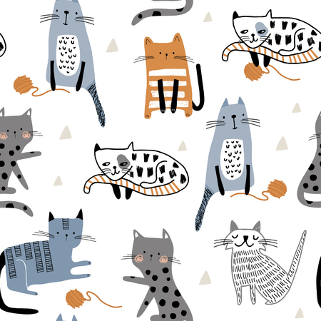 Seamless pattern with different funny cats and balls of yarn. Creative childish texture. Great for fabric, textile Vector Illustration
