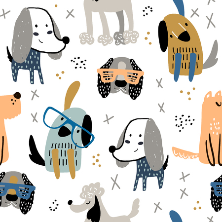 Childish seamless pattern with funny creative dogs in glasses. Trendy scandinavian vector background. Perfect for kids apparel,fabric, textile, nursery decoration,wrapping paper Ilustração