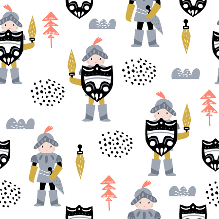 Childish seamless pattern with cute knights in scandinavian style. Creative vector childish background for fabric, textile
