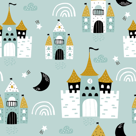 Childish seamless pattern with castle, towers, rainbows in scandinavian style. Creative vector childish background for fabric, textile Vectores