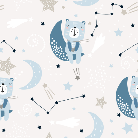Seamless childish pattern with cute bears on clouds, moon, stars. Creative scandinavian style kids texture for fabric, wrapping, textile, wallpaper, apparel. Vector illustration Standard-Bild - 117746066