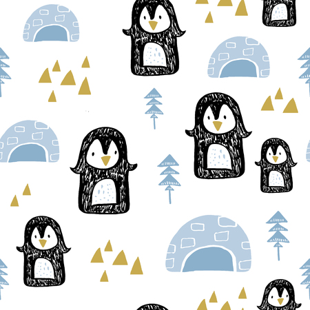 Seamless pattern with penguins in anrarctica. Creative winter childish texture. Great for fabric, textile Vector Illustration