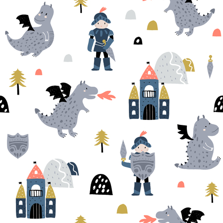 Childish seamless pattern with knight, dragon and castle in scandinavian style. Creative vector childish background for fabric, textile Ilustração