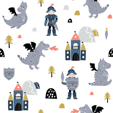 Modèle sans couture enfantin avec chevalier, dragon et château dans un style scandinave. Fond enfantin vecteur créatif pour tissu, textile Vecteurs