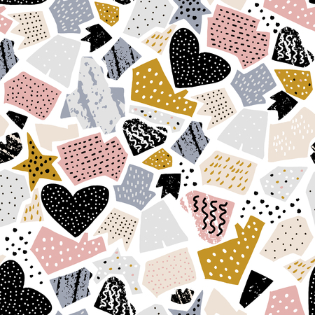 Seamless abstarct pattern with ink drawn shapes and textures. Creative fashion texture. Great for fabric, textile Vector Illustration Ilustração