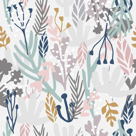 Seamless monotone pattern with flowers,branches, leaves. Creative floral texture. Great for fabric, textile Vector Illustration