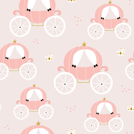 Childish seamless pattern with pink carriage in scandinavian style. Creative vector childish background for fabric, textile Ilustracja