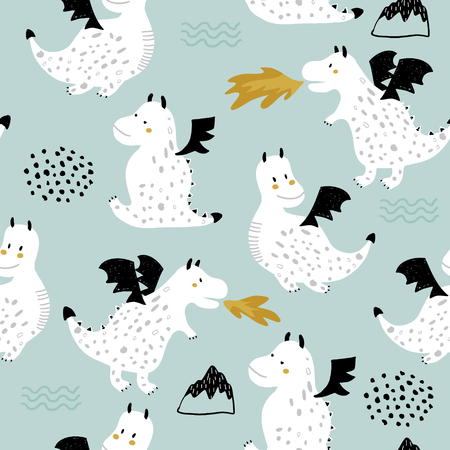 Childish seamless pattern with cute dragons in scandinavian style. Creative vector childish background for fabric, textile