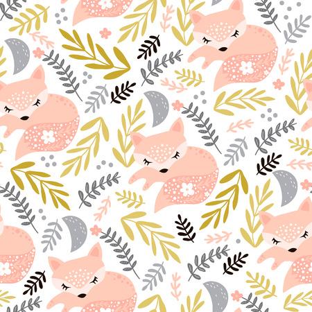 Nahtloses Waldmuster mit schlafendem Fuchs und floralen Elementen. Kreative Kinder für Stoff, Verpackung, Textilien, Tapeten, Bekleidung. Vektor-Illustration