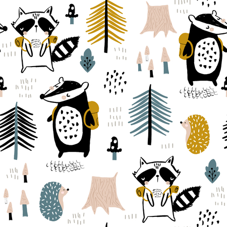 Nahtloses kindisches Muster mit touristischem Waschbär mit Biber im Wald. Kreativer Kinderwald für Stoff, Verpackung, Textilien, Tapeten, Bekleidung. Vektor-Illustration Vektorgrafik