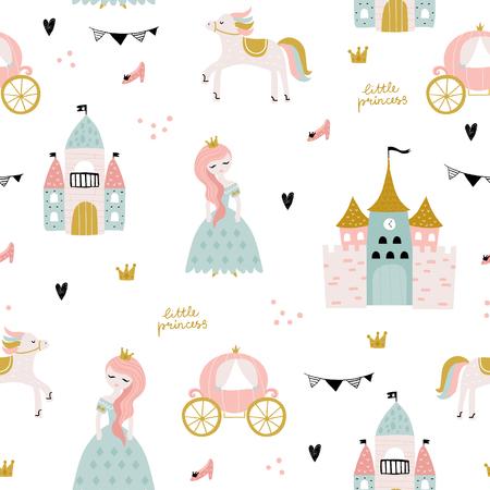 Modèle sans couture enfantin avec princesse, château, calèche dans un style scandinave. Fond enfantin vecteur créatif pour tissu, textile Vecteurs