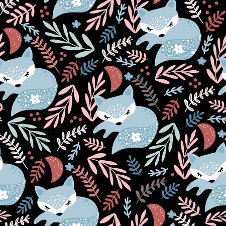 Seamless woodland pattern with sleeping fox and floral elements . Creative kids for fabric, wrapping, textile, wallpaper, apparel. Vector illustration Ilustração