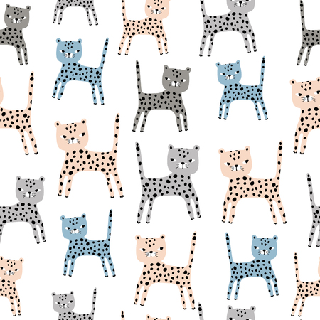 Seamless pattern with cute hand drawn leopards. Creative childish texture. Great for fabric, textile Vector Illustration Ilustração