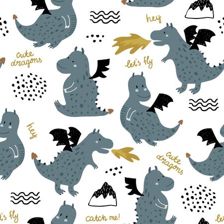 Modèle sans couture enfantin avec des dragons mignons dans un style scandinave. Fond enfantin vecteur créatif pour tissu, textile
