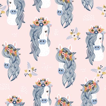 Modello infantile senza cuciture con adorabili cavalli. Trama creativa per bambini scandinavi per tessuti, confezioni, tessuti, carta da parati, abbigliamento. Illustrazione vettoriale Vettoriali