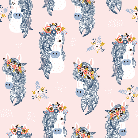 Seamless childish pattern with adorable horses . Creative scandinavian kids texture for fabric, wrapping, textile, wallpaper, apparel. Vector illustration 写真素材 - 124935837