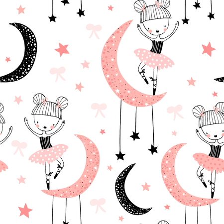Childish seamless pattern with cute hand drawn ballerina in scandinavian style. Creative vector childish background for fabric, textile