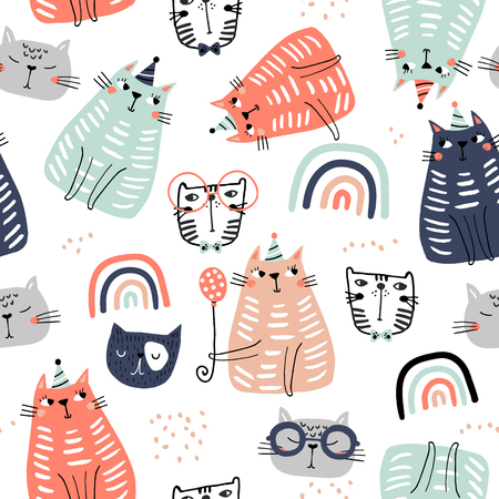 Seamless childish pattern with funny colorful cats and ranbows . Creative scandinavian kids texture for fabric, wrapping, textile, wallpaper, apparel. Vector illustration Ilustração