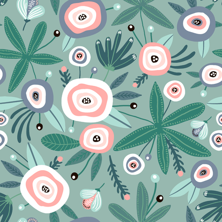 Seamless pattern with flowers, leaves. Creative floral green texture. Great for fabric, textile Vector Illustration