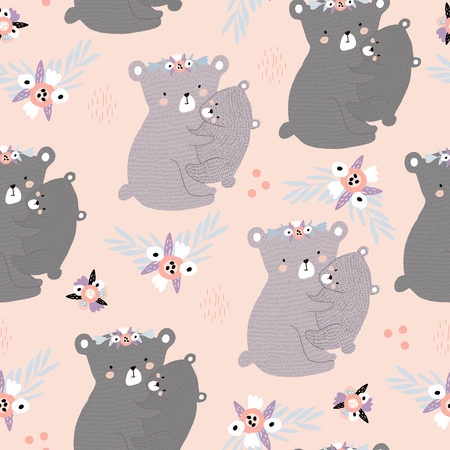 Seamless pattern with cute mom hugging baby bear. Creative childish texture. Great for fabric, textile Vector Illustration Ilustração