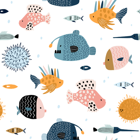 Seamless pattern with creative and colorful fishes . Creative undersea childish texture. Great for fabric, textile Vector Illustration Illustration