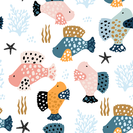 Seamless pattern with creative and colorful fishes . Creative undersea childish texture. Great for fabric, textile Vector Illustration Banco de Imagens - 117746077