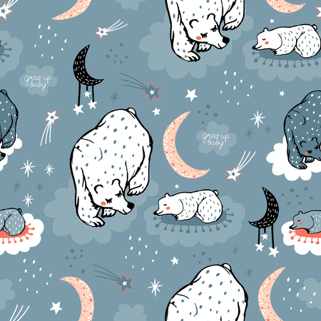 Seamless pattern with cute mom and baby bear on night sky. Creative childish texture. Great for fabric, textile Vector Illustration Banco de Imagens - 124935843
