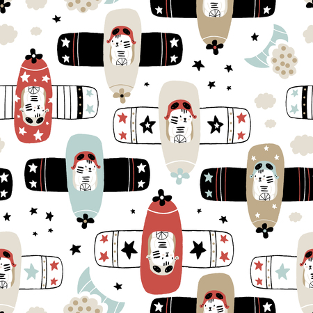 Seamless childish pattern with tigers pilot on planes . Creative hand drawn kids texture for fabric, wrapping, textile, wallpaper, apparel. Vector illustration