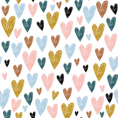 Motif enfantin sans couture avec des coeurs dessinés à la main. Texture créative pour enfants scandinaves pour tissu, emballage, textile, papier peint, vêtements. Illustration vectorielle