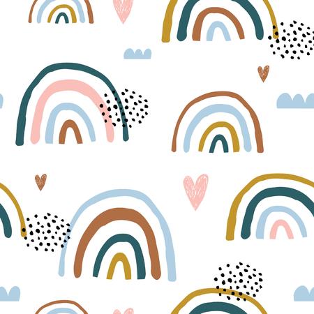 Nahtloses kindisches Muster mit handgezeichneten Regenbögen und Herzen. Kreative skandinavische Kindertextur für Stoff, Verpackung, Textilien, Tapeten, Bekleidung. Vektor-Illustration Vektorgrafik