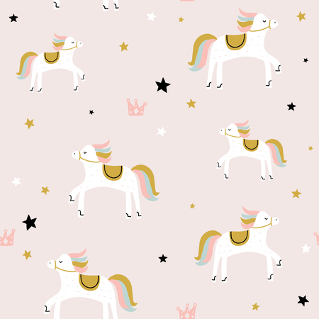 Childish seamless pattern with cute horse. Creative vector childish background for fabric, textile Ilustração